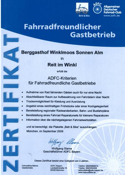 Auszeichnungen&Bewertungen fahrradfreundlicher Gastbetrieb
