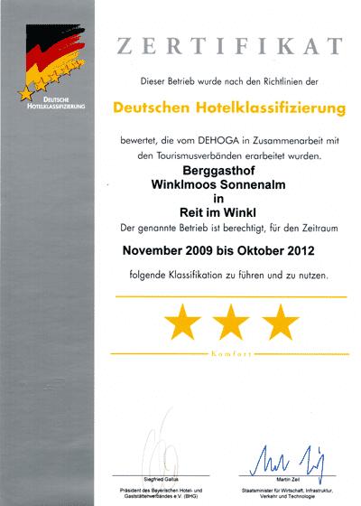 Auszeichnungen 3-Sterne-Hotel-Klassifizierung