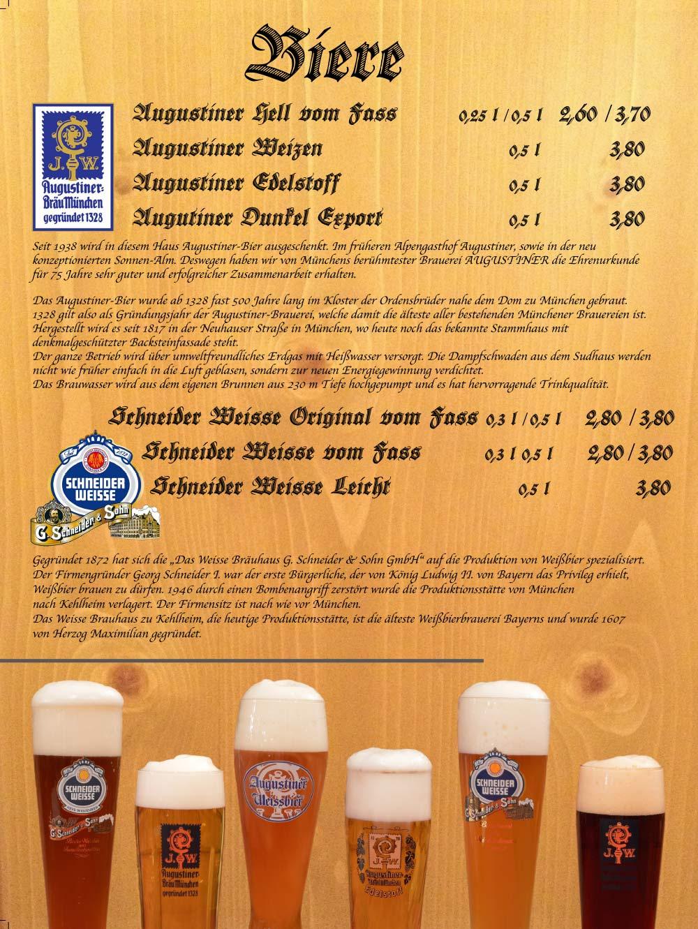 Speisekarte - Biere 2