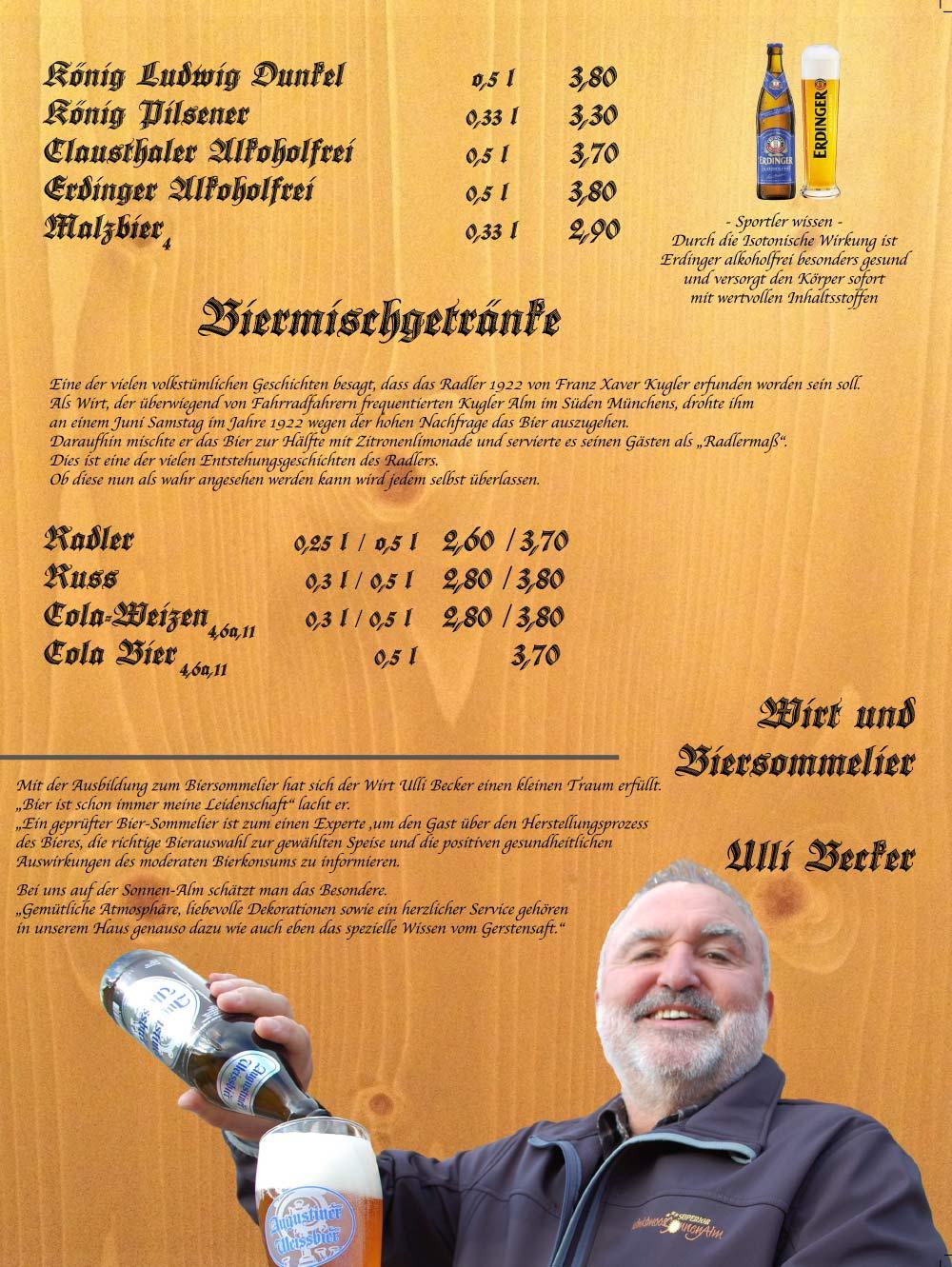 Speisekarte - Biere