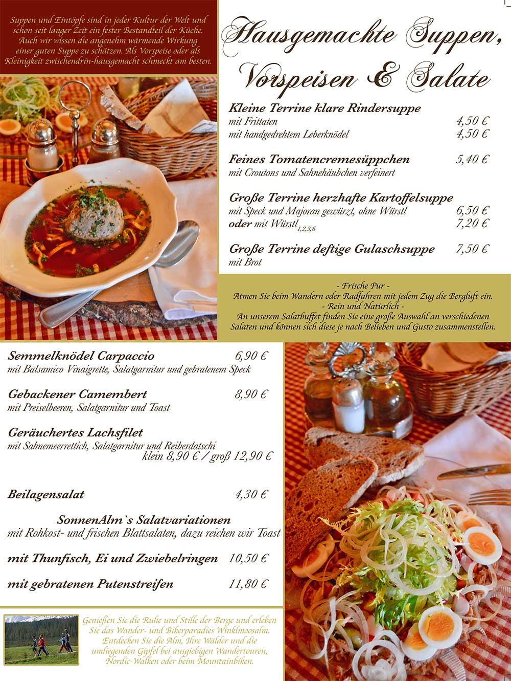 Speisekarte - Suppen, Vorspeisen, Salate