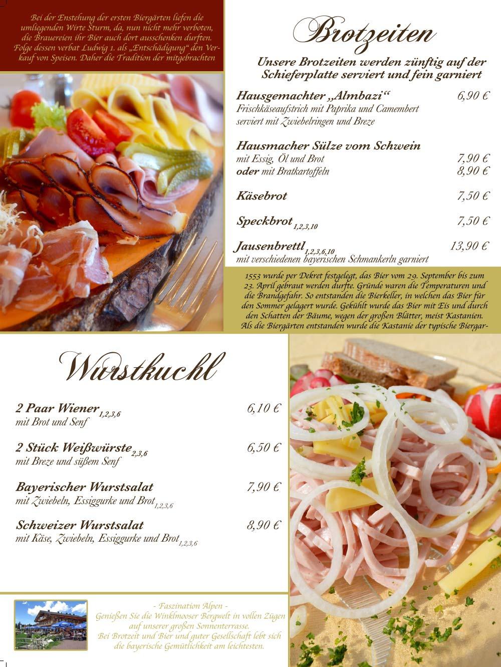 Speisekarte - Brotzeiten + Wurstkuchl
