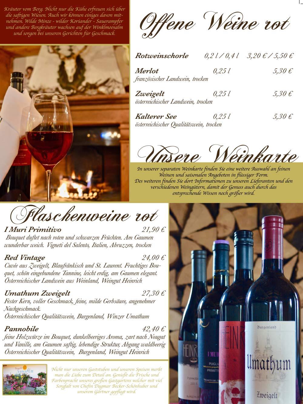 Speisekarte - Weinkarte
